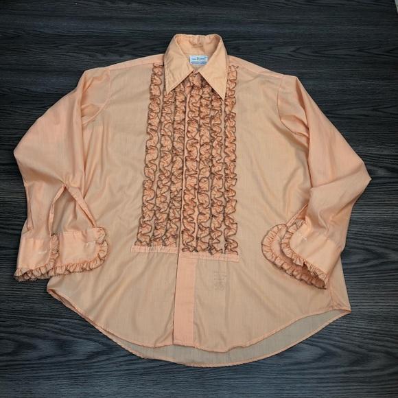best price luxuriant in design nice shoes Lion of Troy Orange Ruffle Tux Tuxedo Shirt 16.5